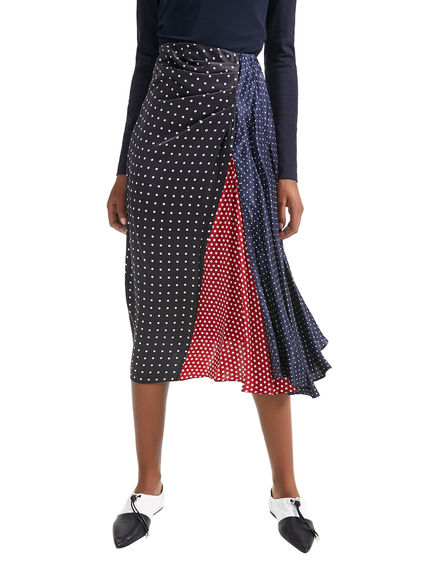 Polka Dot Asymmetric Silk Skirt