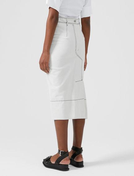 Denim-Detailed Midi Skirt
