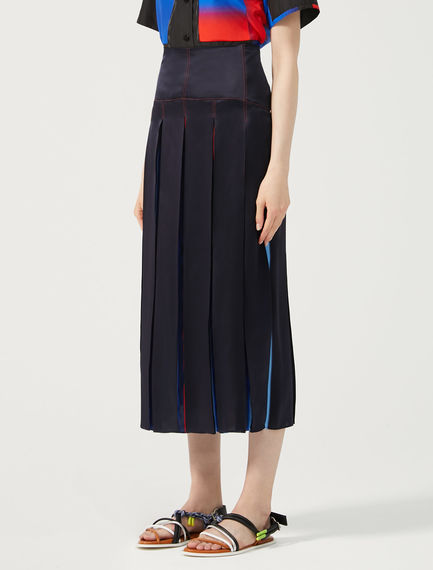 Faded Stripe Silk Satin Skirt