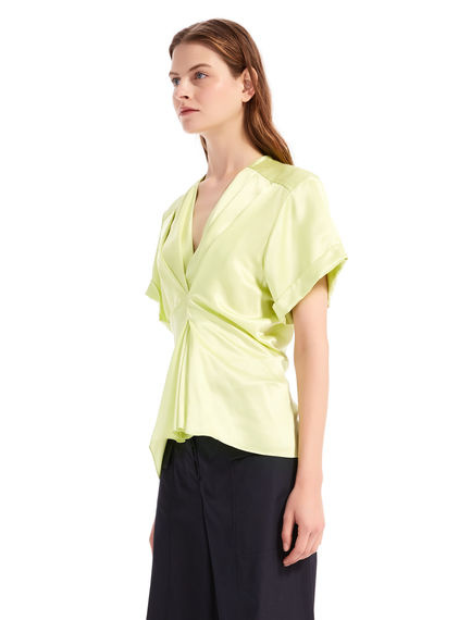 Top in satin con pieghe