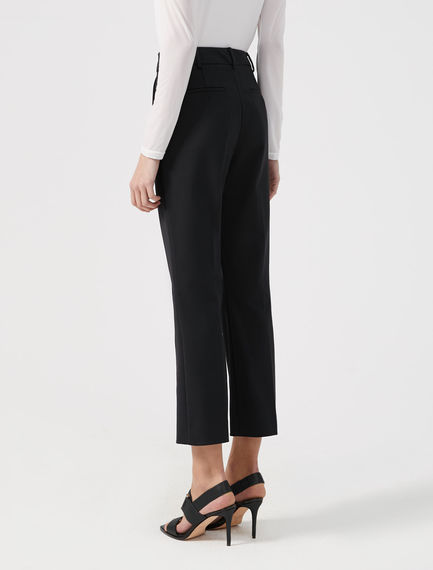 Cotton Canvas Cropped Trousers
