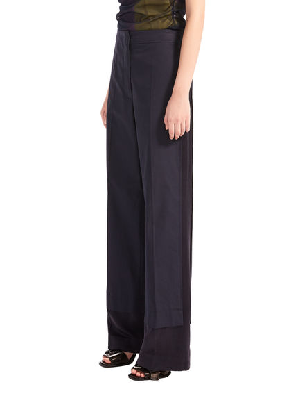 Wide-leg Poplin & Satin Trousers