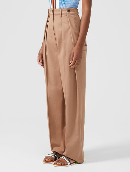 Double Pleated Cotton Trousers