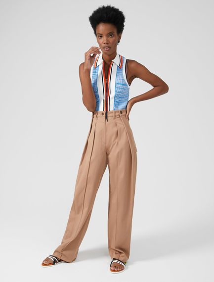 Double Pleated Cotton Trousers Sportmax