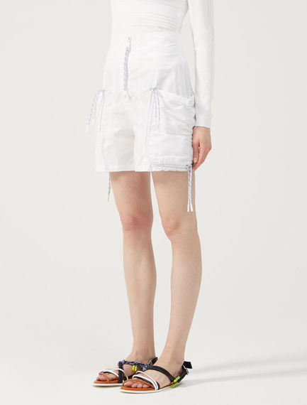 Gathered Cotton Shorts