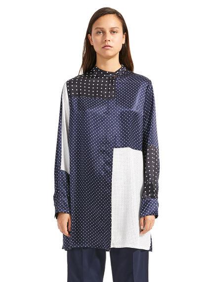 Patchwork Polka Dot Silk Shirt