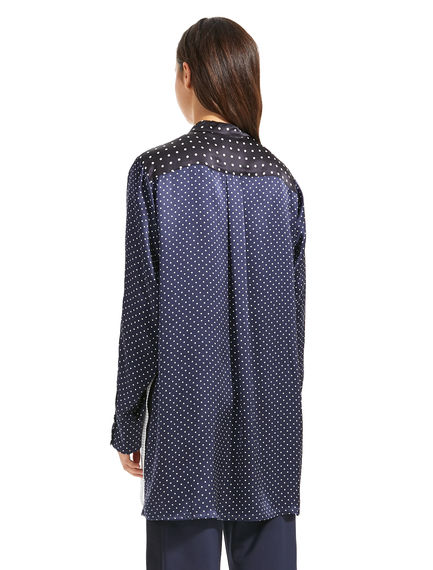 Patchwork Polka Dot Silk Shirt