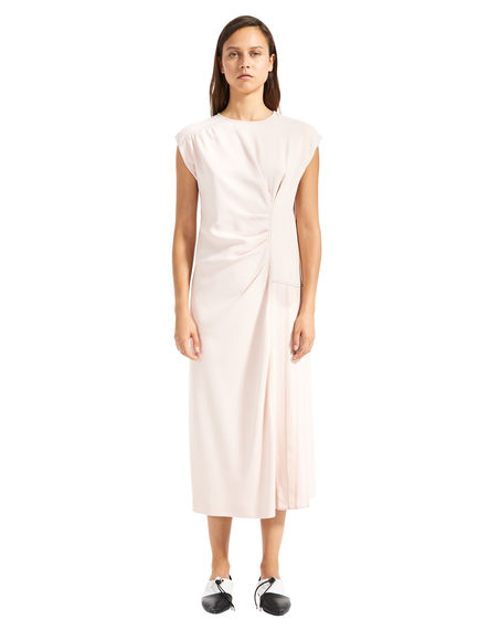 Ruched Pleat Viscose Dress