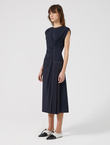 Ruched Pleat Viscose Dress