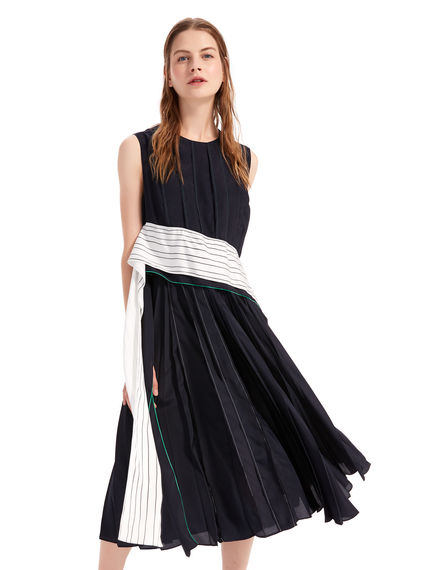Pleated Crêpe Sash Dress Sportmax