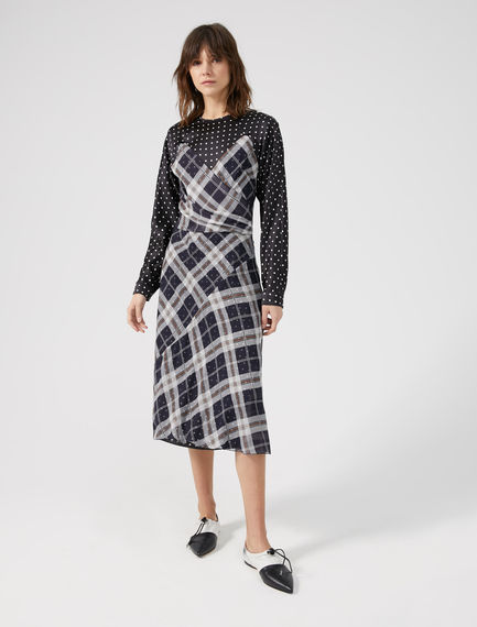 Contrast Pattern Silk Dress