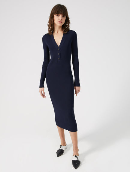 Viscose V-neck Polo Dress Sportmax