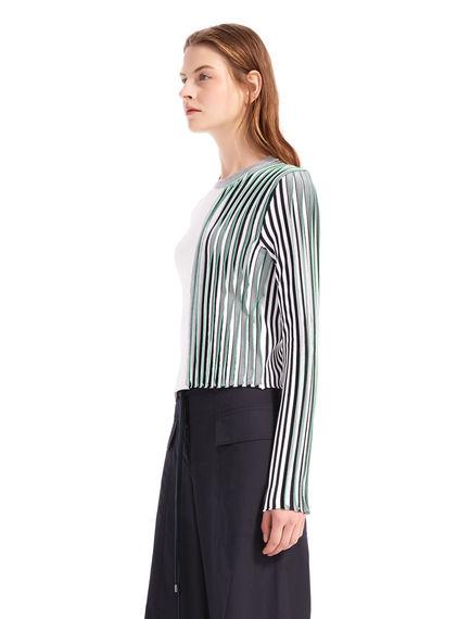 Contrast Rib Knit Viscose Sweater