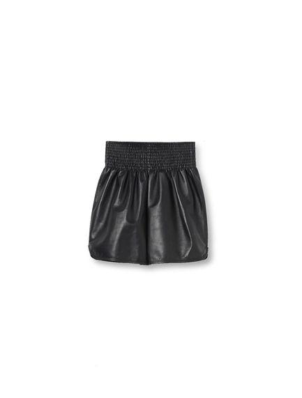 Gathered Leather Shorts