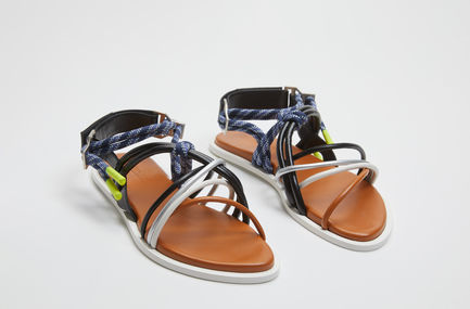 Corded Flat Leather Sandals