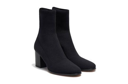 Block-Heeled Sock Boot