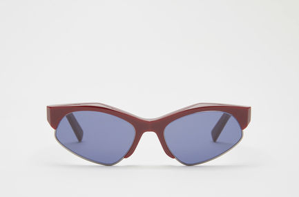 Occhiali con montatura combinata in acetato bordeaux e metallo