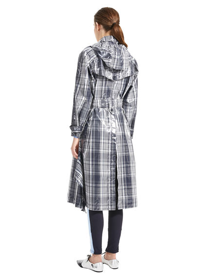 Oversized Check Trench Coat
