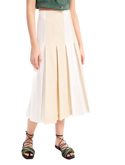 Two-Tone Linen Midi Skirt Sportmax