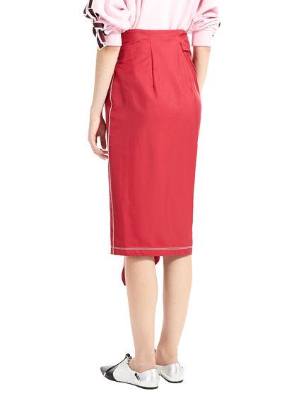 Asymmetric Ruffle Gabardine Skirt