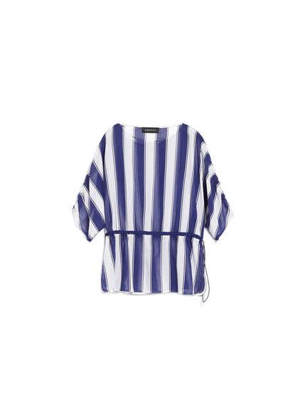 Striped Cotton Crepe Blouse