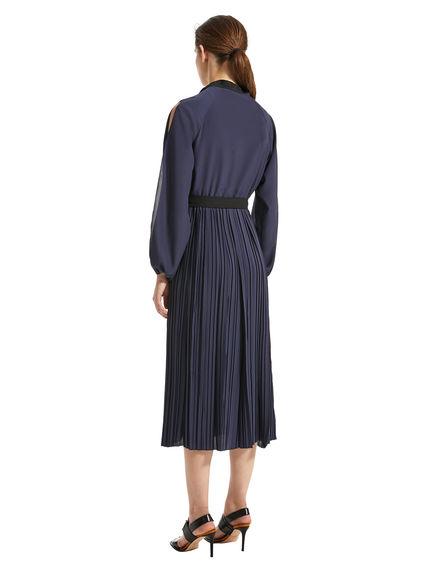 Split-Sleeve Crepe Dress