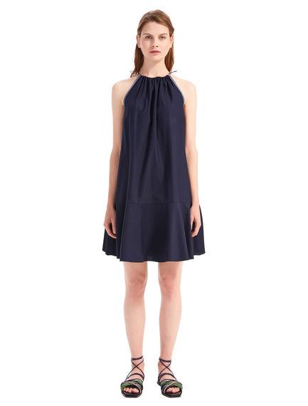Fluted Cotton Canvas Dress