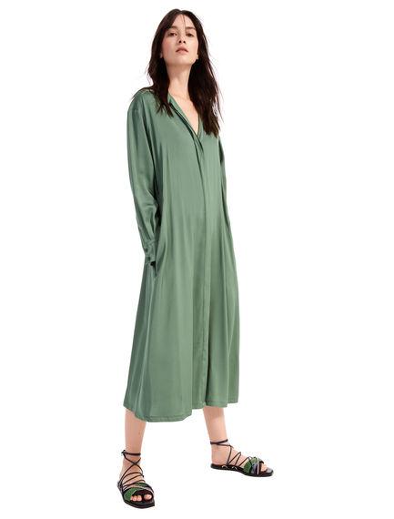 Military-Inspired Satin Shirtdress