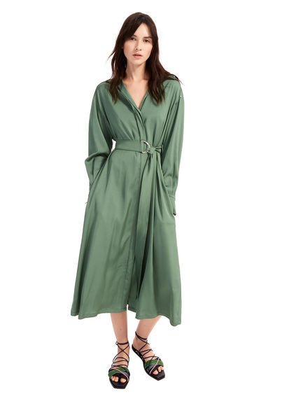 Military-Inspired Satin Shirtdress Sportmax