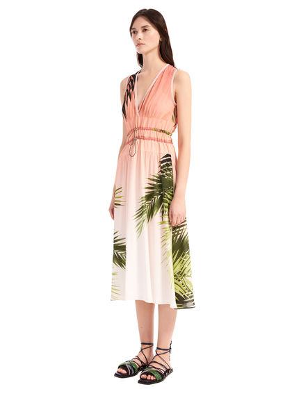Palm Print Habotai Dress