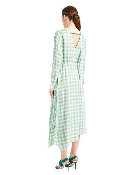 Chequerboard Print Asymmetric Dress