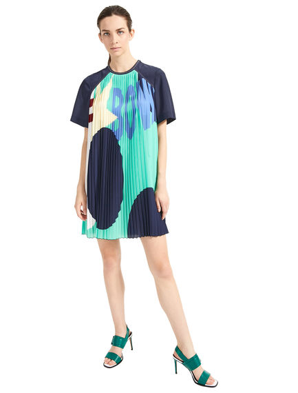 Pleated Bowling-Print Tunic Dress