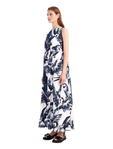 Flowing Parrot Print Dress