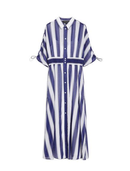 Striped Cotton Crepe Shirtdress
