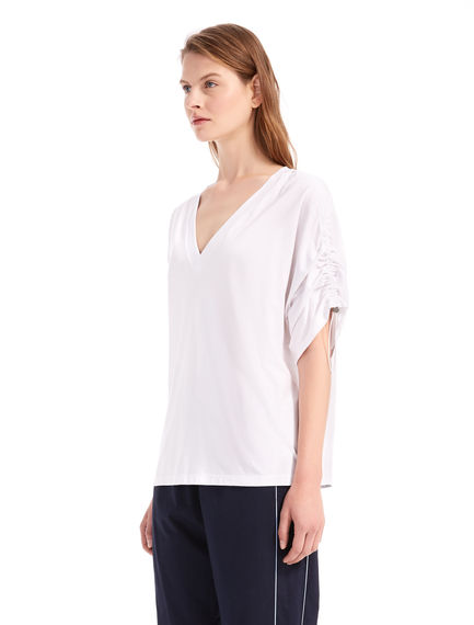 Drawstring-sleeve Linen T-shirt