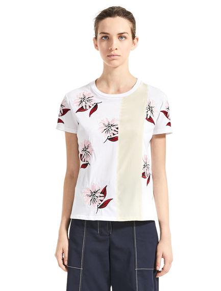 Scattered Floral-Embroidered T-Shirt