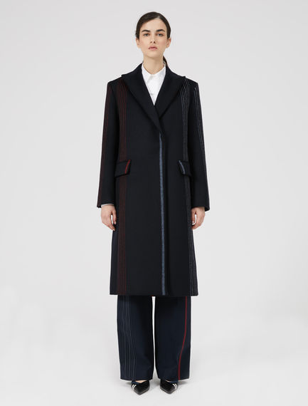 Strobe Stripe Wool Coat