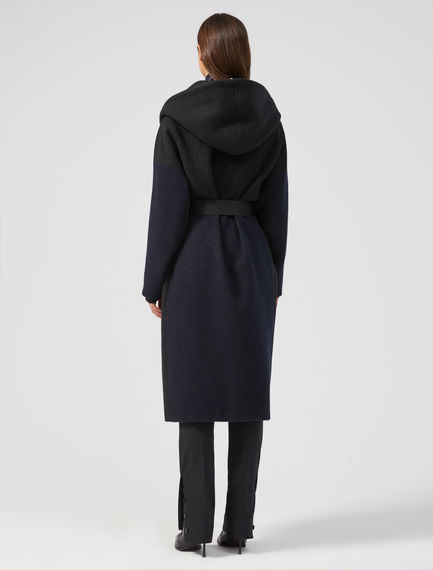 Two-Tone Cashmere Wrap Coat