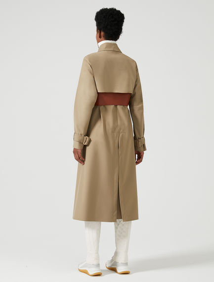 Leather Detail Trench Coat