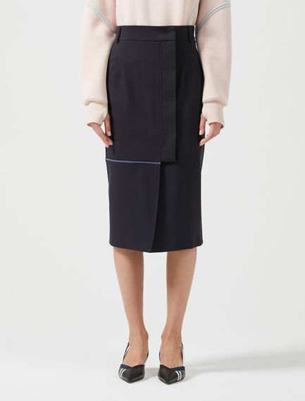 Piped Wraparound Skirt