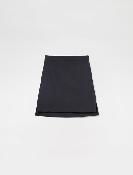 Stepped Hem Wool Skirt