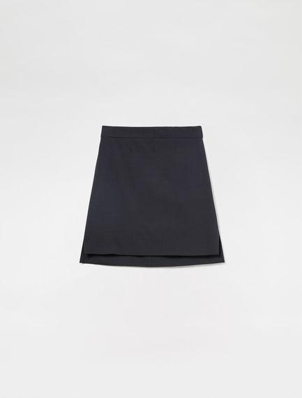 Stepped Hem Wool Skirt