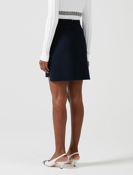 Stepped Hem Double-faced Wool Skirt