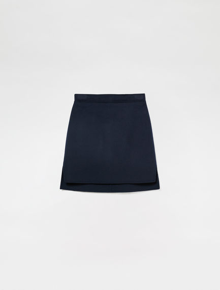 Stepped Hem Double-faced Wool Skirt