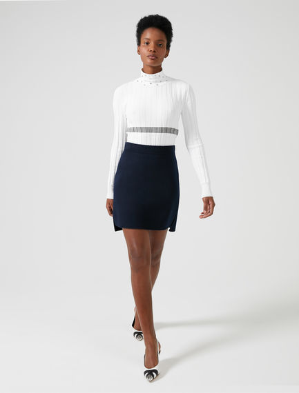 Stepped Hem Double-faced Wool Skirt Sportmax