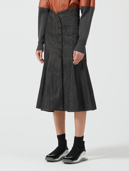 Flared Denim Midi Skirt