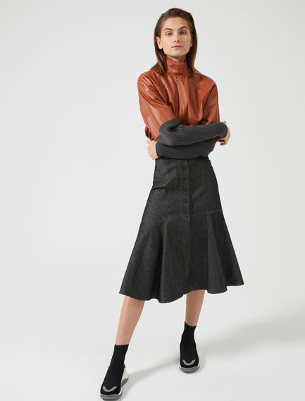 Flared Denim Midi Skirt Sportmax
