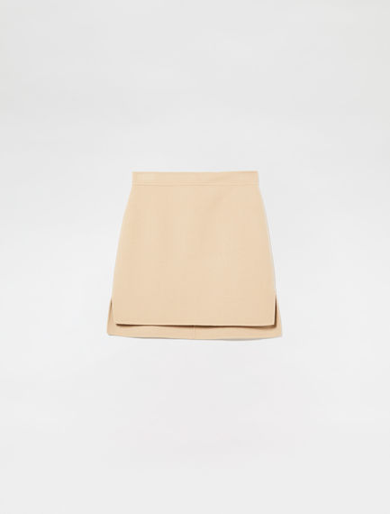 Double-Stitched Wool Skirt