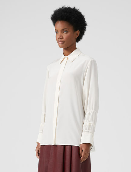 Smocked Sleeve Silk Blouse Sportmax