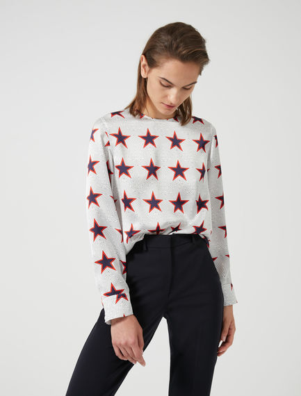 Comic Star Print Blouse